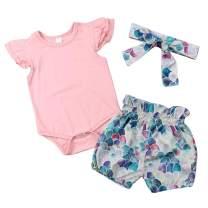 Infant Baby Girl Plain Ruffle Short Sleeve Cotton Romper Bodysuit Mermaid Shorts +Headband Summer Clothes