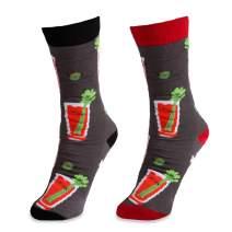 Pavilion - Bloody Mary Fun Black, Gray & Red Patterned Alcohol S/M Unisex Socks - 4-9 Women US & 5-8 Men US