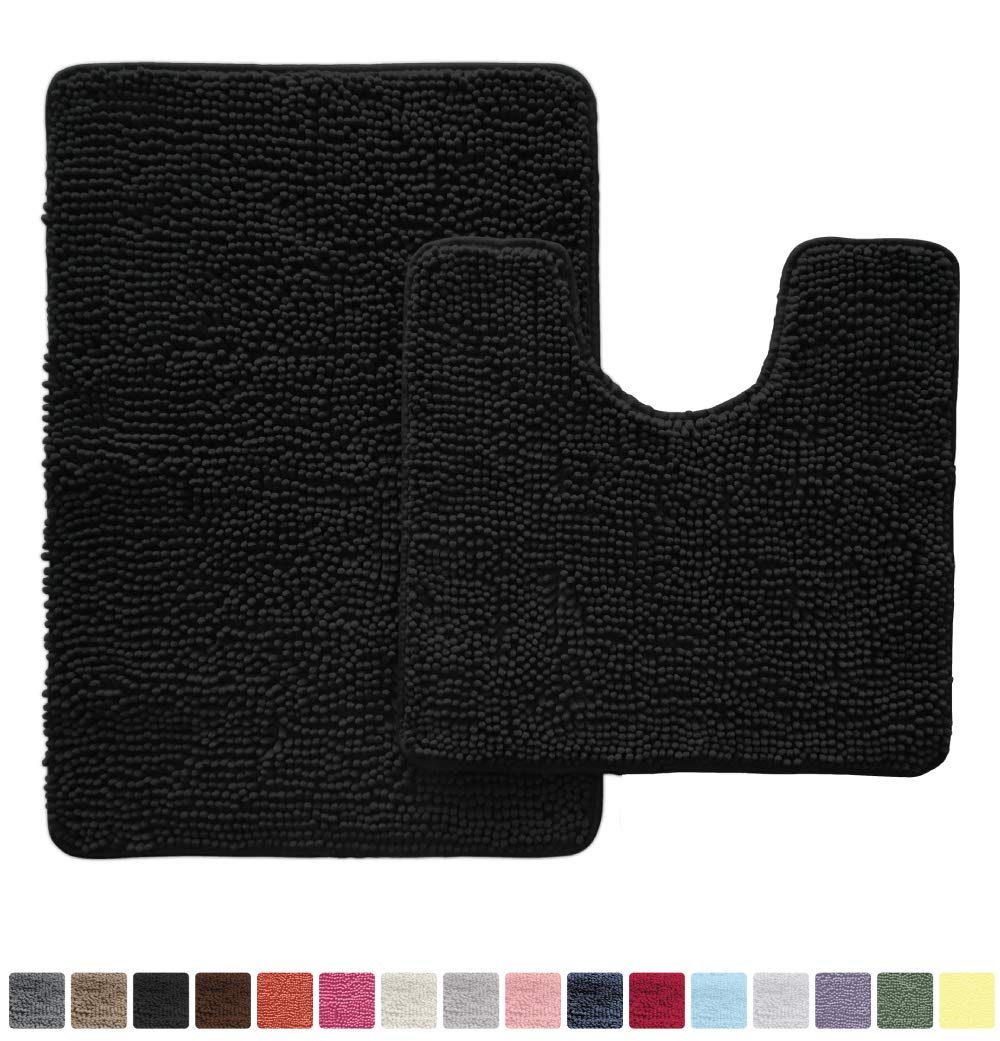 Gorilla Grip Original Shaggy Chenille 2 Piece Area Rug Set Includes Oval U-Shape Contoured Mat for Toilet and 30x20 Bathroom Rugs, Machine Wash Dry, Plush Mats for Tub, Shower and Bath Room, Black