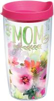 Tervis 1242899 Mom - Watercolor Floral Tumbler with Wrap and Fuchsia Lid 16oz, Clear