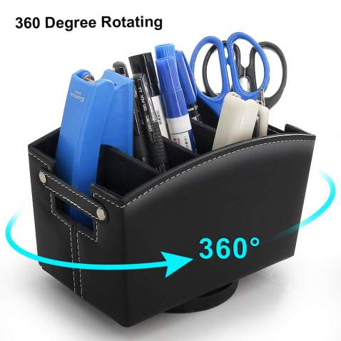 Leather Office Supplies Organizer, 360 Degree Rotating Desk Storage Box for Stationery and Remote Control, Like Pens, Marking Pens, Art Brushes, Knife, Clips, Sticky Notes and Calculator – Black