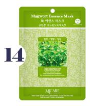 Pack of 14, The Elixir Beauty MJ Korean Cosmetic Full Face Collagen Mugwort Essence Mask Pack Sheet for Vitality, Clarity, Mosturizing, Relaxing