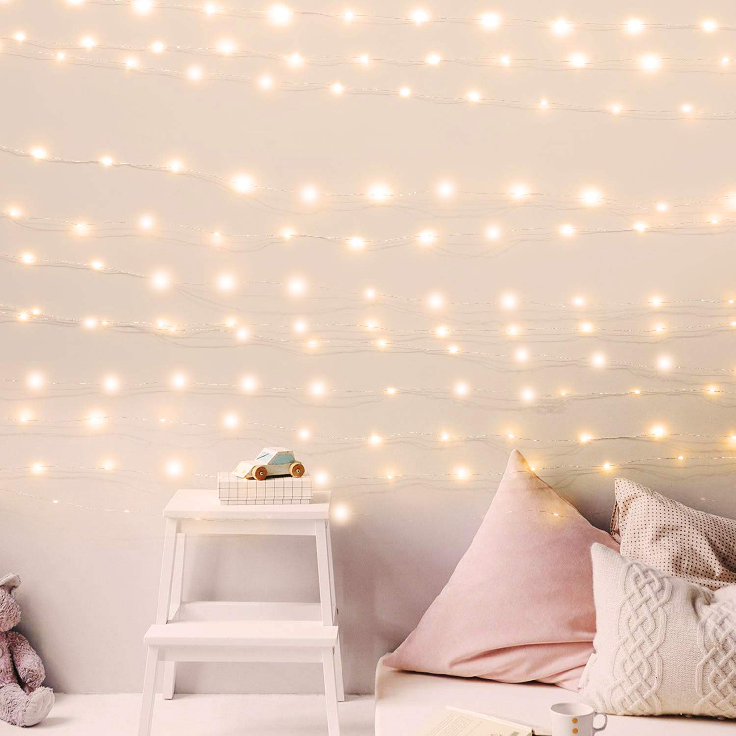 Usb Fairy String Lights With Power Adaptor 66ft 200 Led Firefly Lights For Bedroom Wall Ceiling Christmas Tree Wreath Craft Wedding Party Decoration Warm White