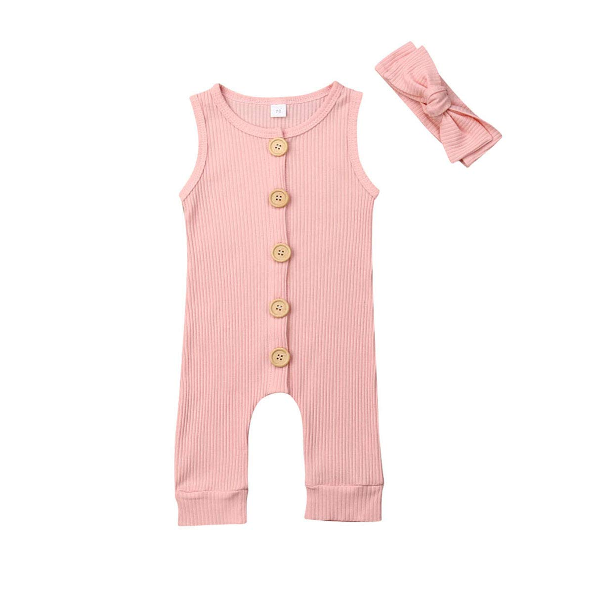 Ma.Lina.Ann Newborn Unisex Baby Boys Girls Solid Jumpsuit Cute Knitted Button Romper One Piece