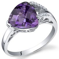 Amethyst Ring Sterling Silver Trillion Checkerboard Cut 2.00 Carats Sizes 5 to 9