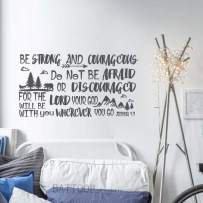 """BATTOO Be Brave Strong and Courageous- Joshua 1:9 Bible Scripture Wall Decal Quotes for Boys Room Boys Nursery Baby Room Vinyl Letters Inspirational Wall Decor(Dark Gray, 22"""" WX12 H)"""