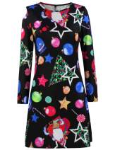 Vewye Printing Stitching Dress Colorful Dress for Women Girls Christmas Party Swing Dress