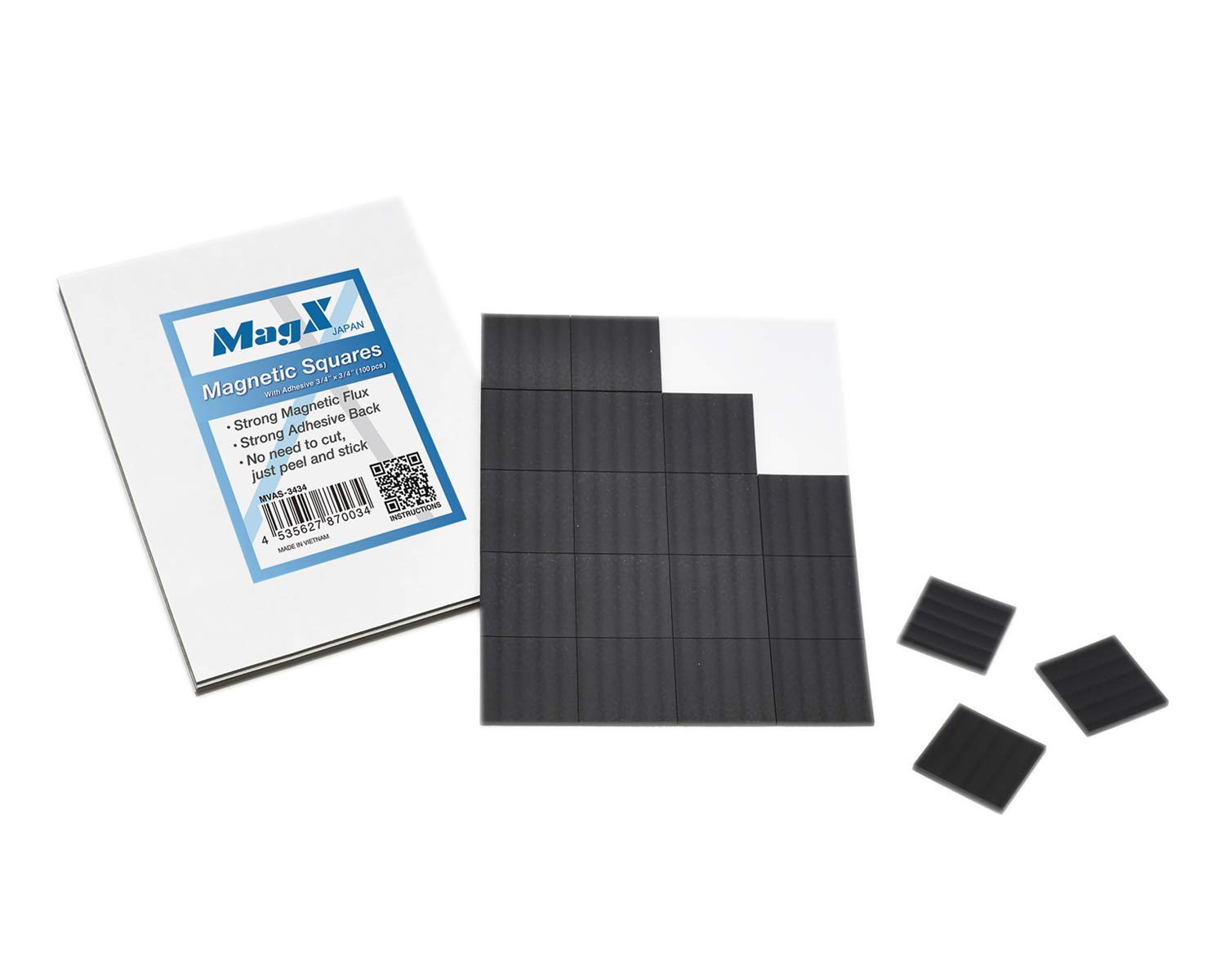 """MagX Magnetic Squares with Adhesive 3/4""""x3/4"""" (100 pcs), Ultra Thick 60 mil, Magnet Squares with Self Adhesive, Peel and Stick, Anisotropic Strong Magnets, Stationery, Office Supply"""