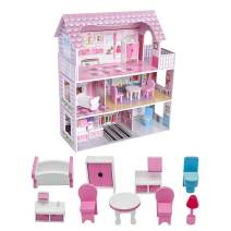 ROOMLIFE Wooden Dollhouse with Dollhouse Furniture Dream Doll House for Little Girls 5 Year Olds 1:12 Scale for Kids Pretend Play Doll House Toy Playset Toddler Girls and Kids' Toy with Accessories