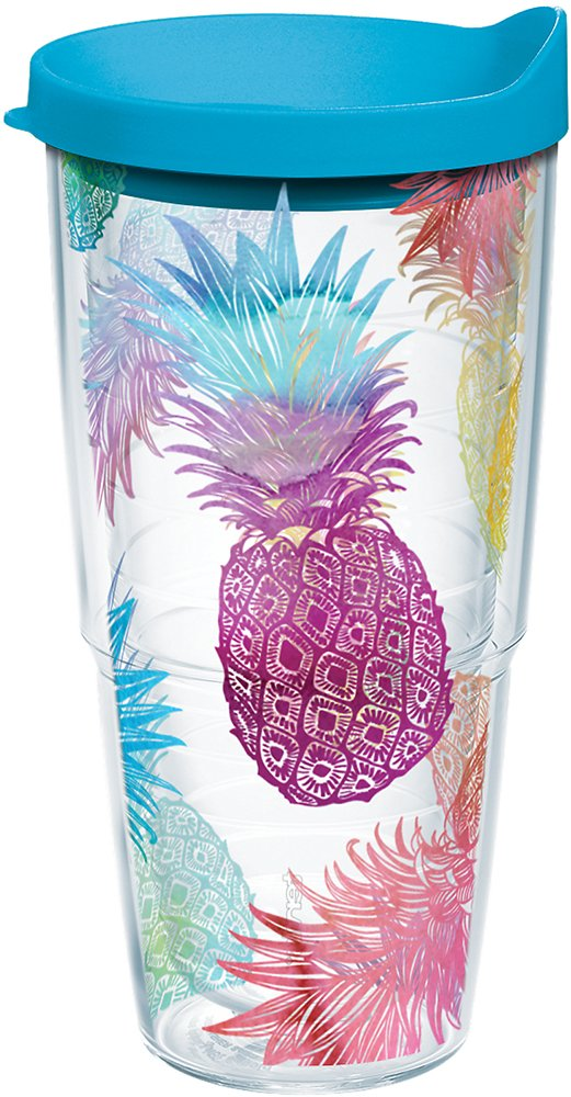 Tervis 1217221 Watercolor Pineapples Tumbler with Wrap and Turquoise Lid 24oz, Clear