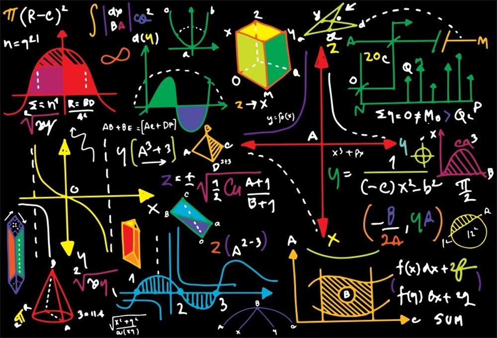 AOFOTO 8x6ft Math Classroom Blackboard Backdrop Back to School Mathematics Course Geometric Figures Blackboard Multicolor Drawing Chalkboard Photography Background Students School Photo Booth Prop