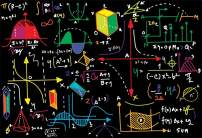 AOFOTO 6x4ft Math Classroom Blackboard Backdrop Back to School Mathematics Course Geometric Figures Blackboard Multicolor Drawing Chalkboard Photography Background Students School Photo Booth Prop