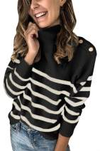 AOHITE Women's Long Sleeve Turtleneck Chunky Knit Pullover Sweater Tops S-XL