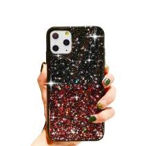 "HUIYCUU Compatible with iPhone 11 Pro Max Case 6.5"", Cute Clear Slim Girl Women Glitter Design Shiny Sparkle Shockproof Soft Bumper + Hard Cover Case for iPhone 11Pro Max,Colorful Bling Rose Red"