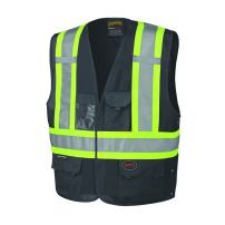 Pioneer V1021570U High Visibility, Reflective Safety Vest, ANSI Class 1, Black ( 4/5XL )