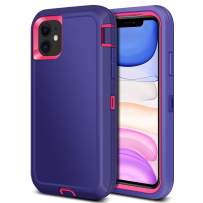 Jiunai iPhone 11 Case, Outdoor Tough Heavy Duty Drop Protection Shockproof Anti Scratch Dual Layer Soft TPU Hard PC Sports Armor Rugged Cover Matte Case ONLY for iPhone 11 6.1 inches 2019 Purple