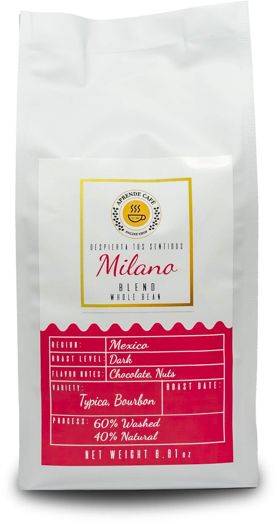 Milano 60% Washed, 40% Natural Process. Blend. Whole Beans. Aprende cafe. (8.81 oz)