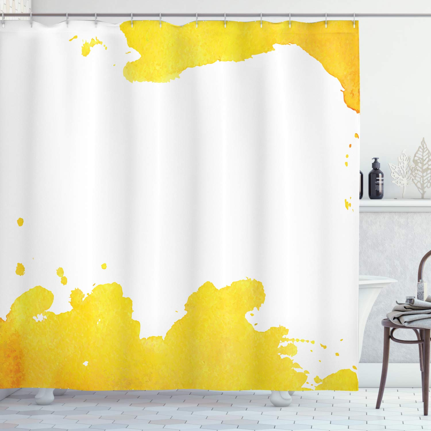 """Ambesonne Vintage Yellow Shower Curtain, White Background with Grunge Looking Watercolor Stains Design, Cloth Fabric Bathroom Decor Set with Hooks, 75"""" Long, Yellow and White"""