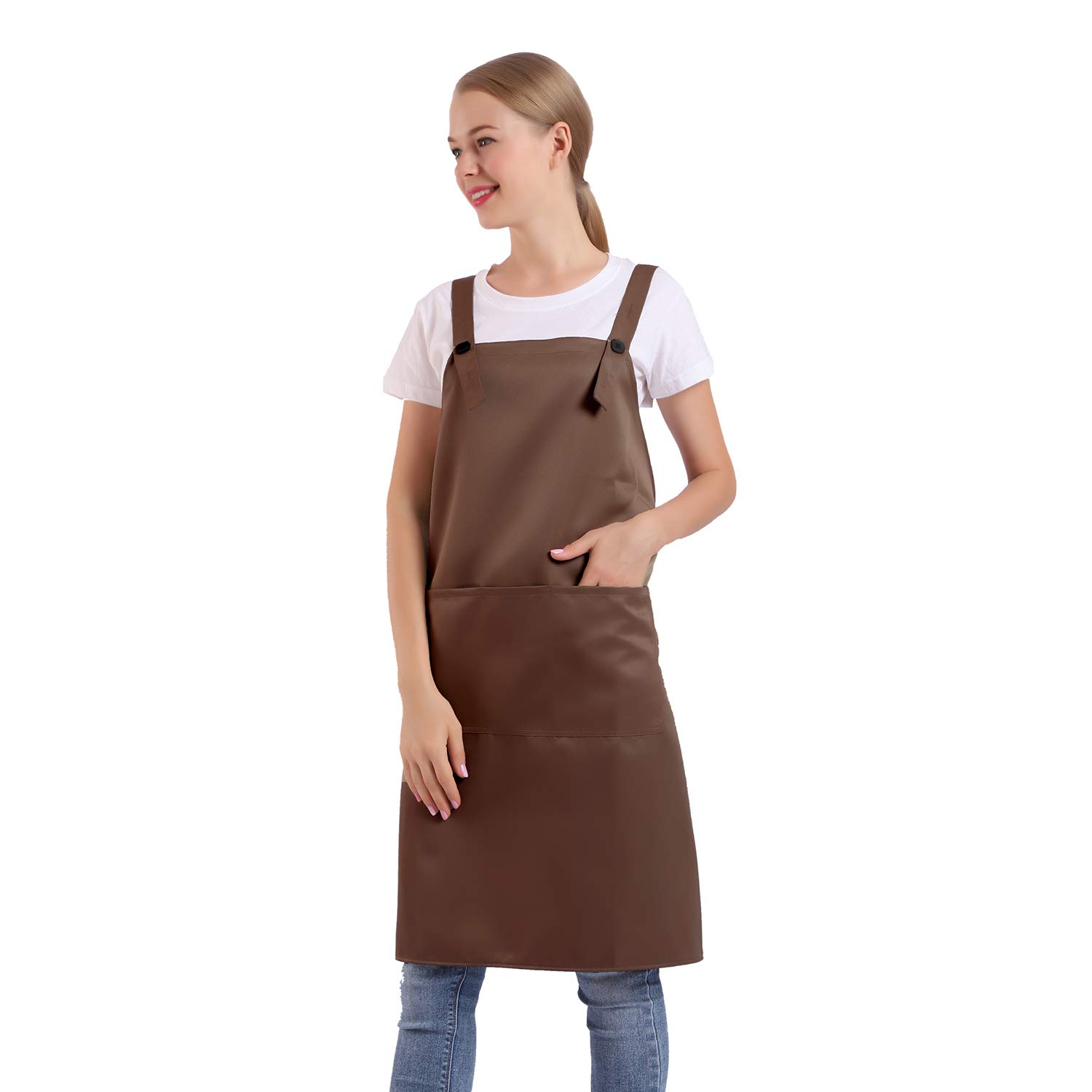 BIGHAS H Style Apron with Pocket for Women, Men Adjustable Large Size Comfortable, Kitchen, Home, Cooking 12 Colors (Brown)