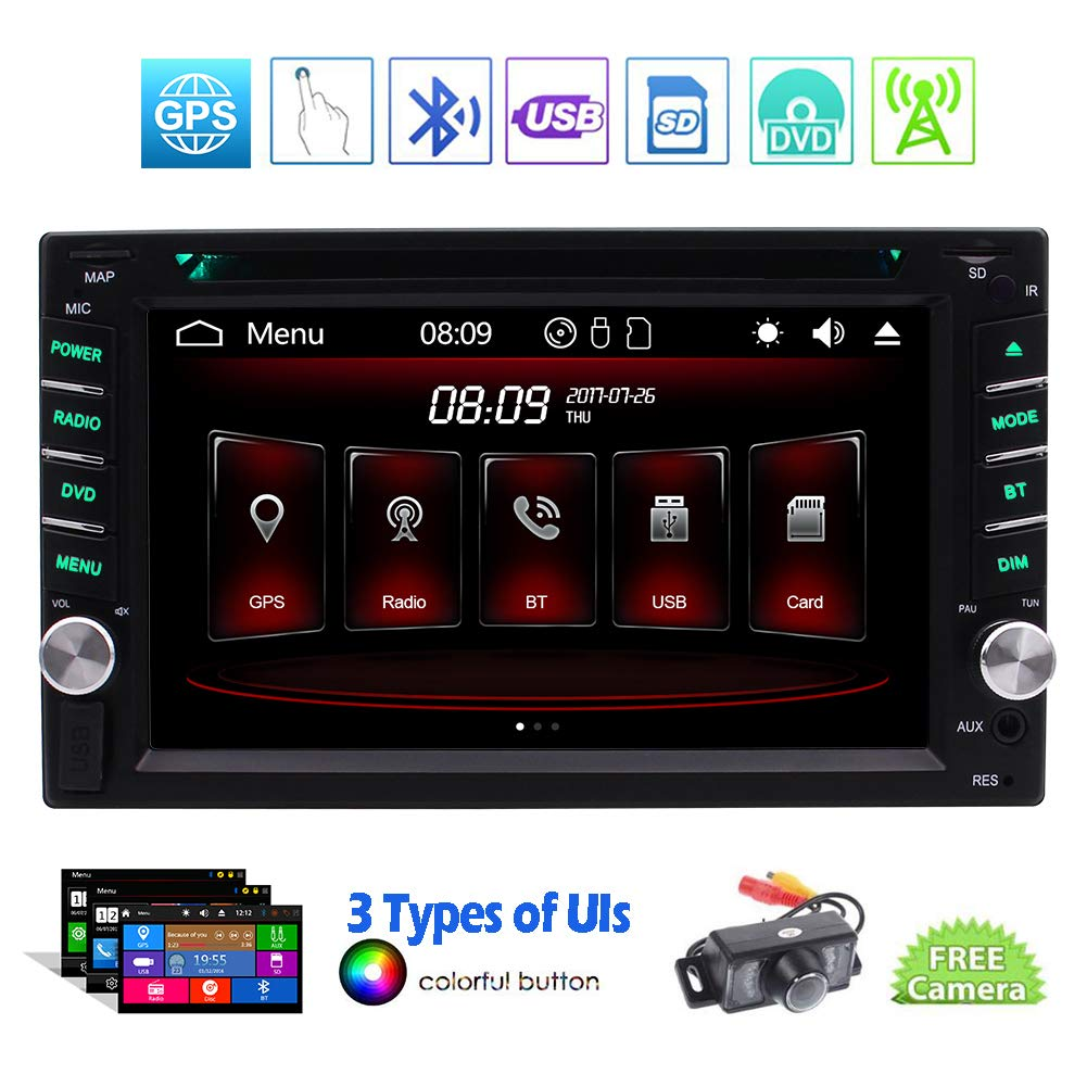Double 2 Din Bluetooth Car Stereo in Dash Car DVD Player GPS FM/AM Car Radio Media Receiver 6.2 inch 5-Touch Touchscreen Display GPS Navigation Headunit USB SD AUX in Wireless Remote + Backup Camera