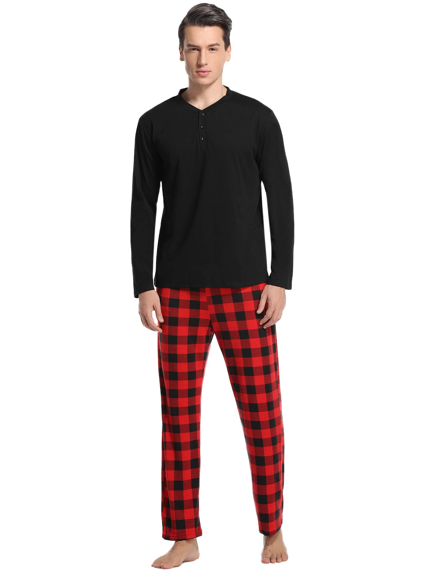 Vlazom Men's Pajama Sets Long Sleeve Top and Plaid Fleece Pants for Men Sleepwear PJs
