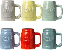 "Set of 6 Novelty Mason Jar Mugs with Handle - Ceramic, Multicolor Mugs for Coffee, Tea and More - 15oz Embossed""Drink"" Decorative Mason Jar Mugs for Beer - Farmhouse Kitchen Décor"
