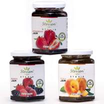 3 Jars of Stevien Jam   Keto Friendly   Made With Organic Stevia, Only 1g of Sugar Per Serving   Low Calorie   Vegan, Nut-Free, and Gluten Free  Peach, Strawberry, And Mixed Berry