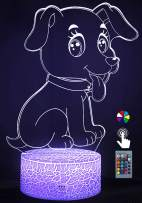 Night Lights for Kids Dog 3D Night Light Bedside Lamp Dog Toy Light 7 Colors Changing with Remote Control Best Christmas Gifts and Birthday Gifts for Boys Girls Kids Baby Children