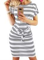 Dearlove Women Short Sleeve Striped Casual Wear to Work Bodycon Pencil Dress with Pockets