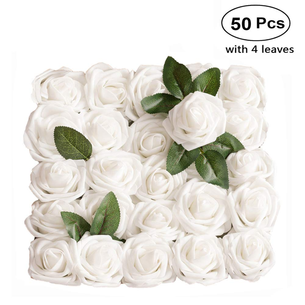 Lmeison Artificial Flowers 50pcs, White Fake Roses with Leaves W/stem Real Looking, Silk Floral Rose for DIY Wedding Bouquets Bridal Shower Baby Shower Party Tables Home Decorations