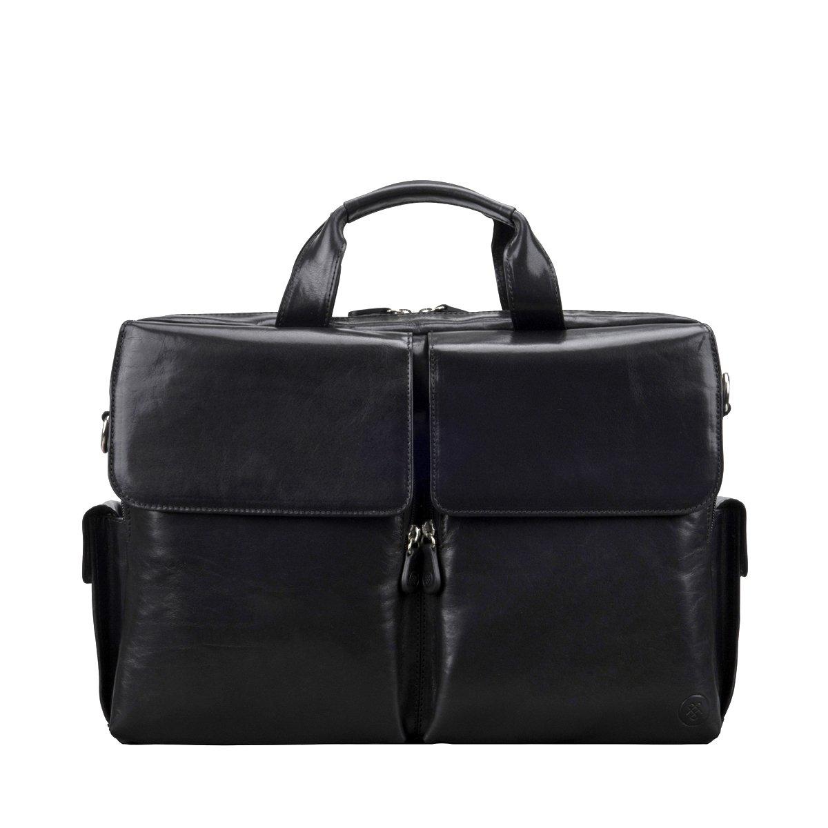 Maxwell Scott Men's Real Italian Leather Briefcase - Lagaro Black