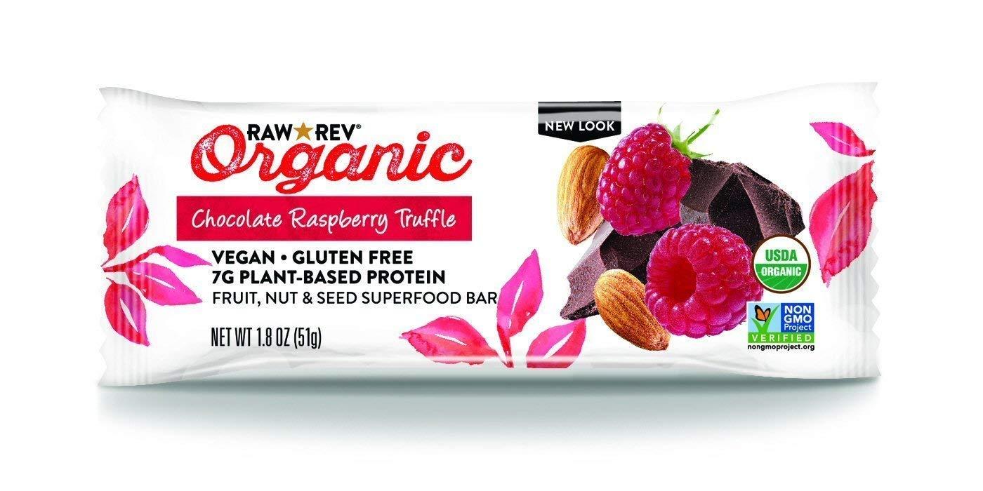 Raw Rev Organic Superfood Bar, Chocolate Raspberry Truffle, 1.8 Ounce Bar (Pack of 12) 7g of Protein, 4g of Fiber, Vegan, Raw, Organic, Plant-Based, Gluten-Free, Fruit, Nut, & Seed Bars