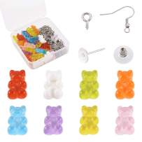 Kissitty 32pcs/Box Bear Resin Flatback Charm Colorful Gummy Bear Pendant with Earring Making Supplies for DIY Jewelry Making