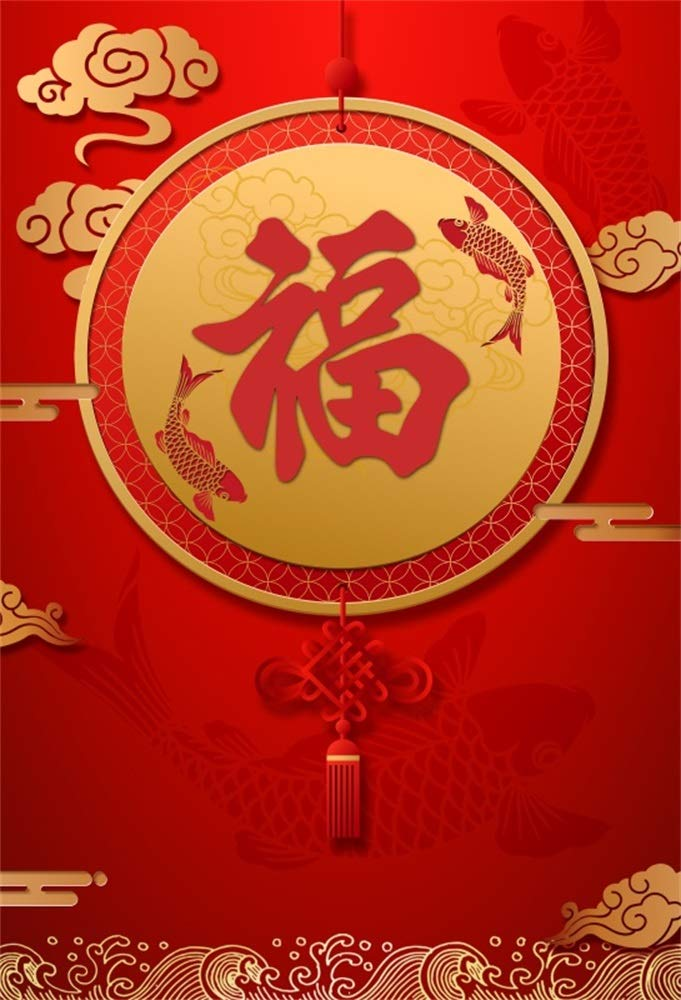 Baocicco 3x5ft Red Happy Chinese New Year Backdrops for Photography Chinese Classical Theme Spring Festival Backdrop Chinese Year Backdrop Good Fortune Blessing Chinese Pendant Background Props
