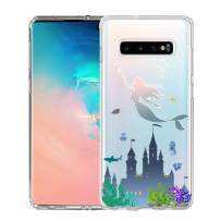 Unov Galaxy S10 Case Clear with Design Soft TPU Shock Absorption Slim Embossed Pattern Protective Back Cover for Galaxy S10 6.1inch (Mermaid Castle)