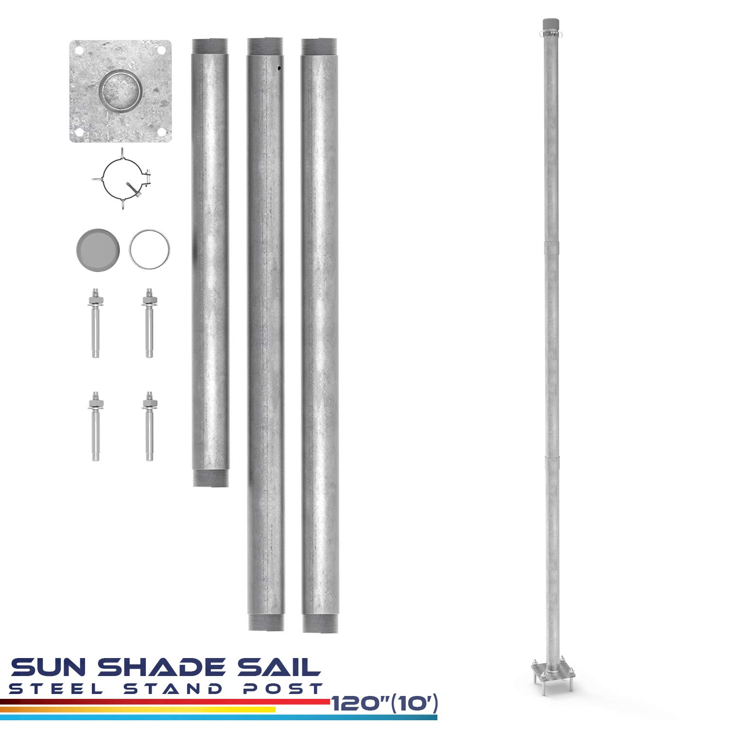 Windscreen4less Sun Shade Sail Pole Kit, Replacement Stand Support Post -10' Feet Tall (120'') for Canopy Awning Patio Deck Garden Concrete Extension Pole Available φ 3''-Steel