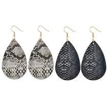 HUJUON Bohemian Snakeskin Leather Earrings Set. Retro Leopard Print Teardrop Earring,Animal Python Print Drop Earrings for Women Girl