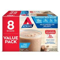 Atkins Milk Chocolate Delight Protein-Rich Shake. Rich and Creamy with High-Quality Protein. Keto-Friendly and Gluten Free. Value Pack. (8 Shakes)