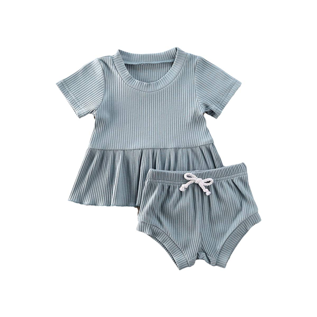 Baby Girls Summer Basic T-Shirt Tops + High Waisted Shorts Newborn Girls Cotton Knit 2Pcs Outfits Clothes