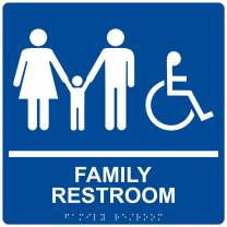 Family Restroom Sign, ADA-Compliant Braille and Raised Letters, 9x9 in. White on Blue Acrylic with Adhesive Mounting Strips by ComplianceSigns