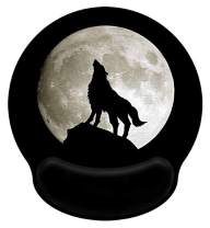 Meffort Inc Mouse Pad with Wrist Rest Support & Non-Slip Base, Durable Ergonomic Gaming Mousepad - Wolf Howling Moon