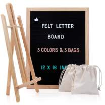 Felt Letter Board 12 x 16 - Black Message Boards with Letters, Changeable Felt Letterboard Oak Wood Frame with 748 Letters, Mounting Hook, Stand and Canvas Bag