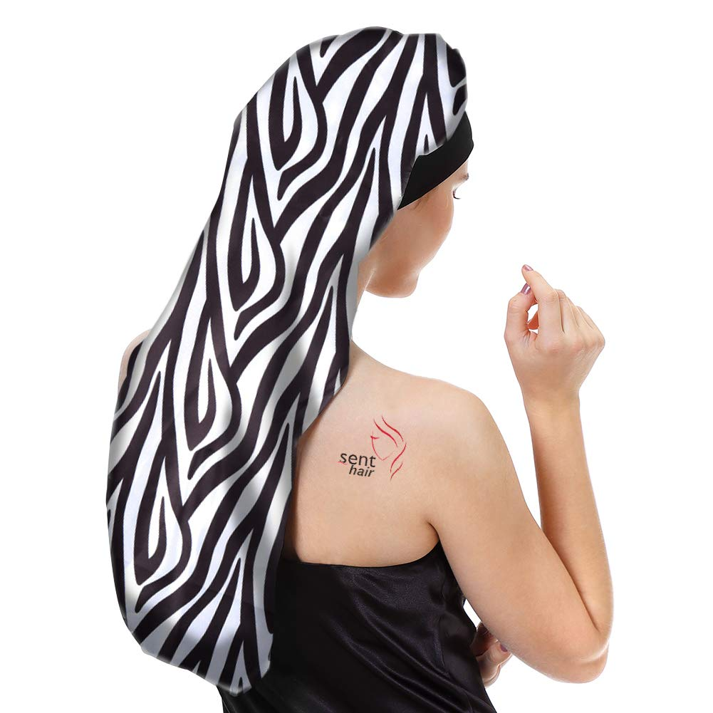 Sent Hair Extra Long Satin Bonnet Sleep Cap for Women Double Layer Silky Hair Bonnet for Braids,Curly,Long Hair- Soft Elastic Band,Black & White Pattern