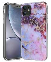 SPEVERT iPhone 11 Case 6.1 inches, Marble Pattern Hybrid Hard Back Soft TPU Raised Edge Ultra-Thin Shock Absorption Slim Case Compatible for iPhone 11 6.1 inch 2019 Released - Pink Red