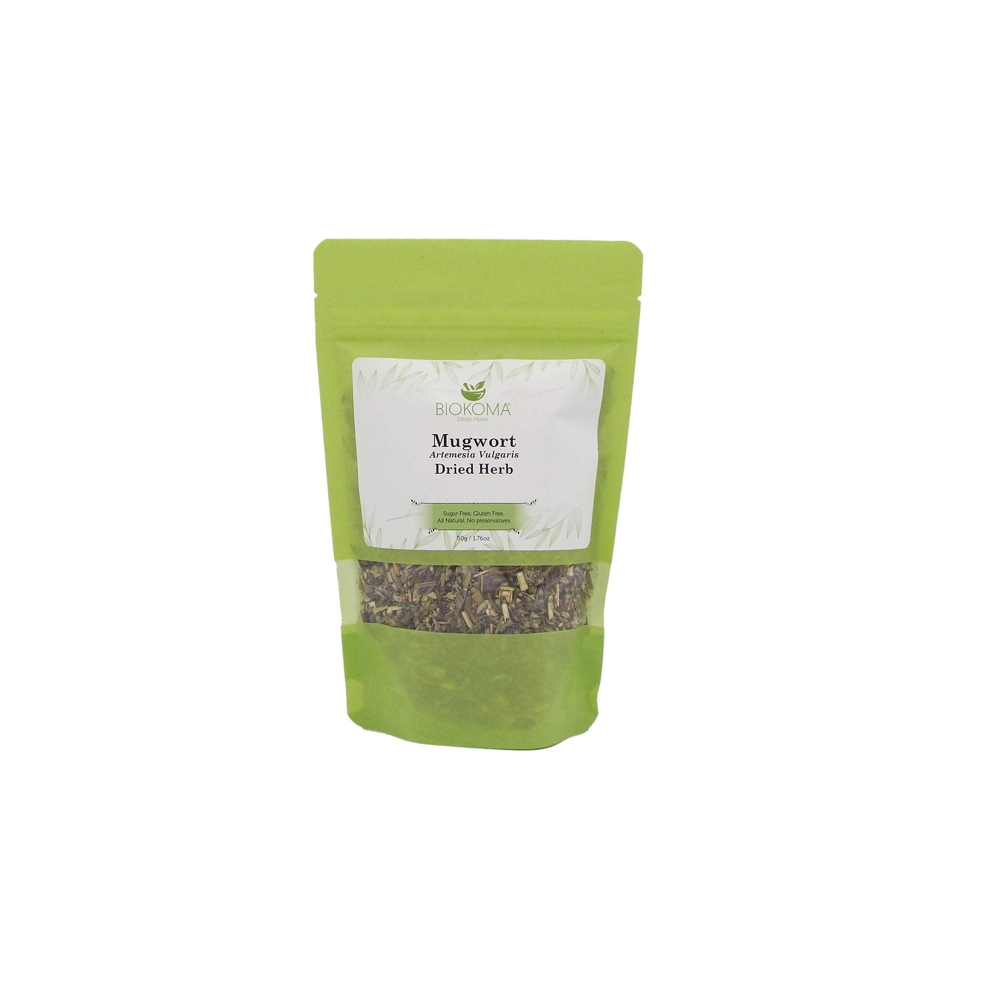 100% Pure and Organic Biokoma Mugwort Dried Herb - Natural Herbal Tea in Resealable Pack Moisture Proof Pouch - 50g