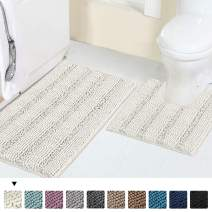 "Luxury Chenille Bath Rug Sets for Bathroom Extra Absorbent Bath Mat with Toilet Floor Rug, Non-Slip, Machine-Washable, Shaggy Carpet Rug Soft, Plush Rugs for Tub Shower 20"" x 32""/20"" x 20"", Ivory"