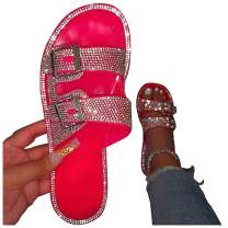 Fudule Sandal for Women Rhinestone Comfy Flat Flops Crystal Sandals Casual Summer Beach Travel Comfortable Roman Shoes