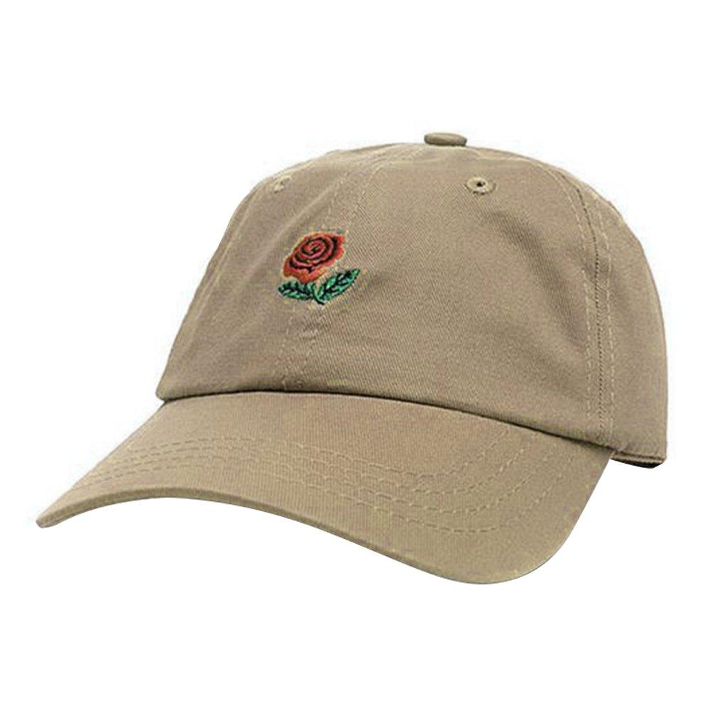 YING LAN Women Summer Outdoor Sport Rose Flower Dad Hat Cap Embroidered Adjustable Baseball Cap Khaki