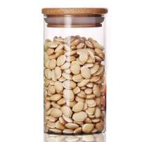 Cupwind Glass Food Storage Jar with Airtight Bamboo Lid - Clear Glass Food Storage Canister for Serving Tea, Coffee, Spice (M-350ml)