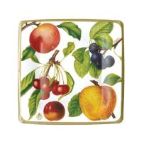 Caspari Botanical Chintz Square Paper Salad & Dessert Plates in Ivory, Two Packs of 8